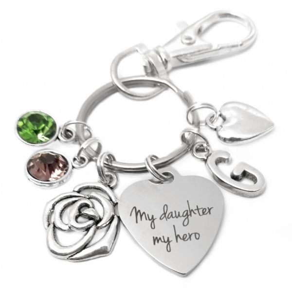 Daughter Rose Charm, Initial Birthstone Personalised  Keyring Gift